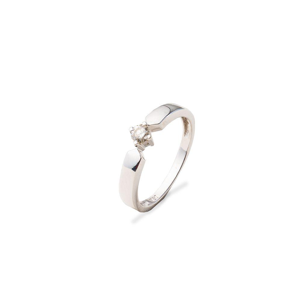 Anel Ouro Branco Solitário Diamante Glamour L 33.5