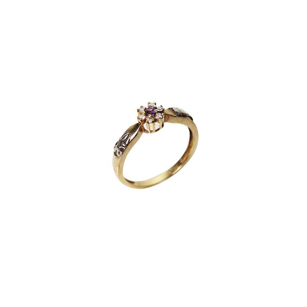Anel Ouro Formatura Ametista Diamante L 25.5