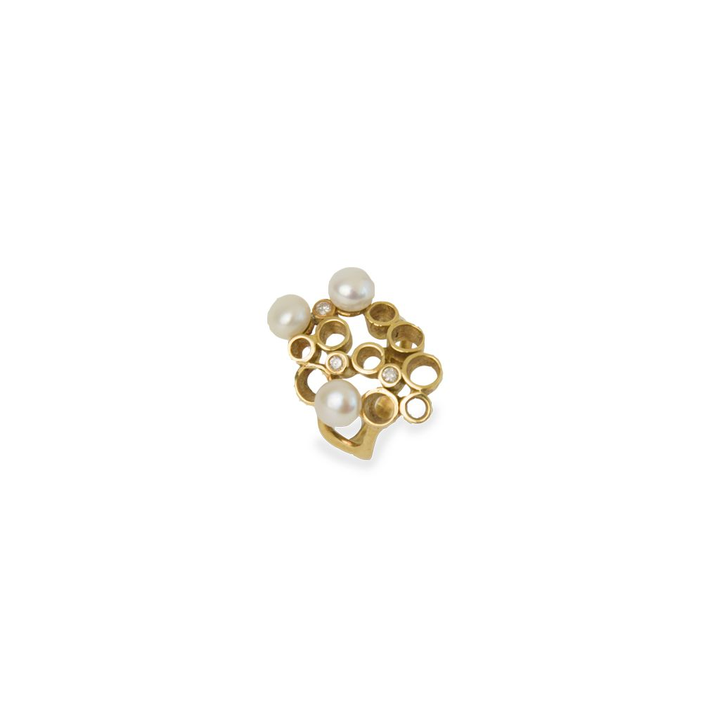 Anel Ouro Pimple of Pearls L 75