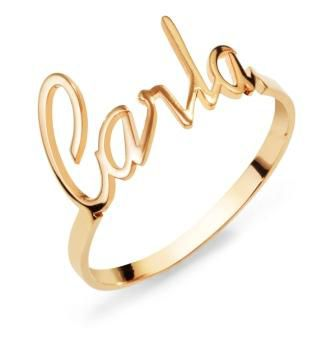 Anel Personalizado Carla em Prata Banho de Ouro VD 92