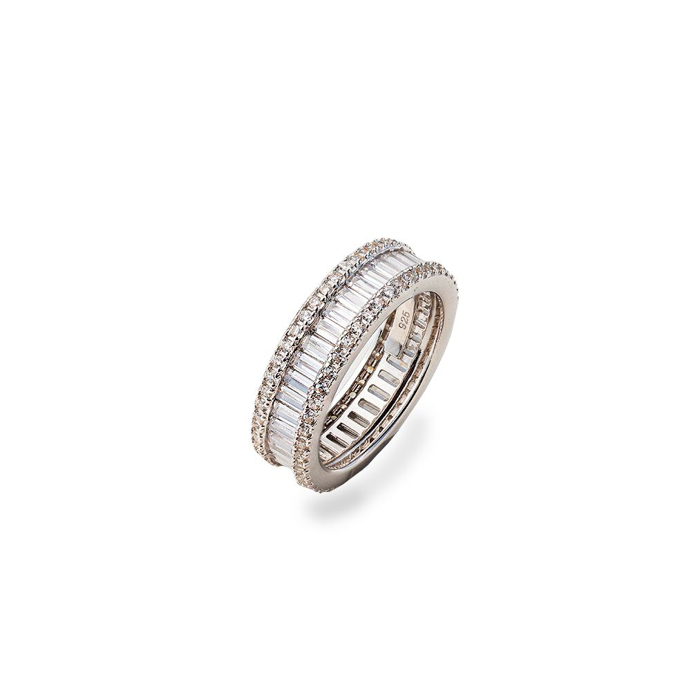 Anel Prata Modelo Aliança com Pedras Cristalinas VD 199
