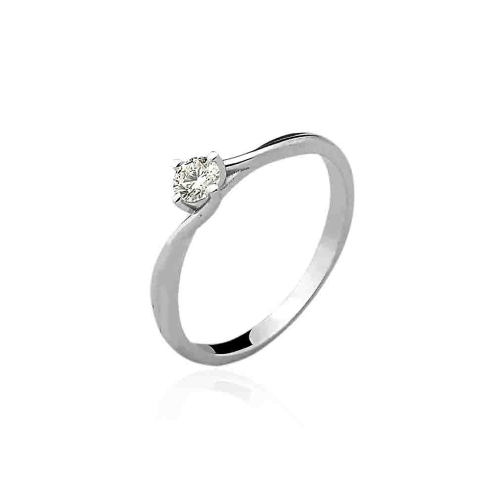 Anel Solitário Ouro Branco 18k Diamante 20 pontos L 54.4