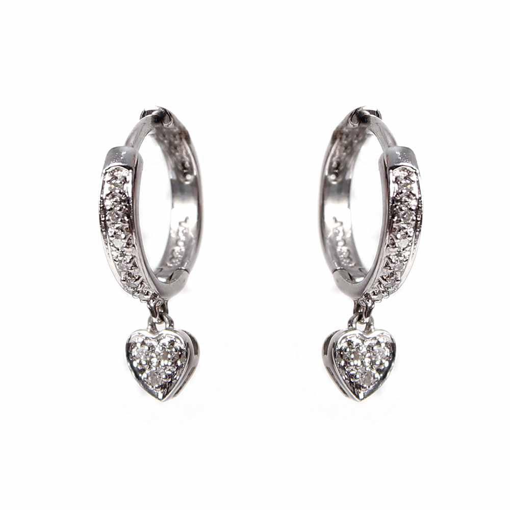 Brincos Argola Diamante com Coração Pendente Ouro 18k L 47