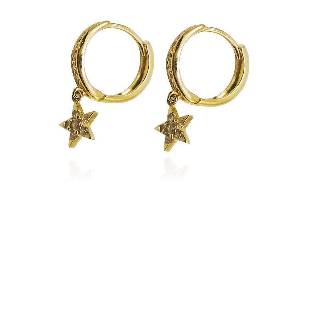 Brincos Argola Diamante com Estrela Pendente Ouro 18k L 35