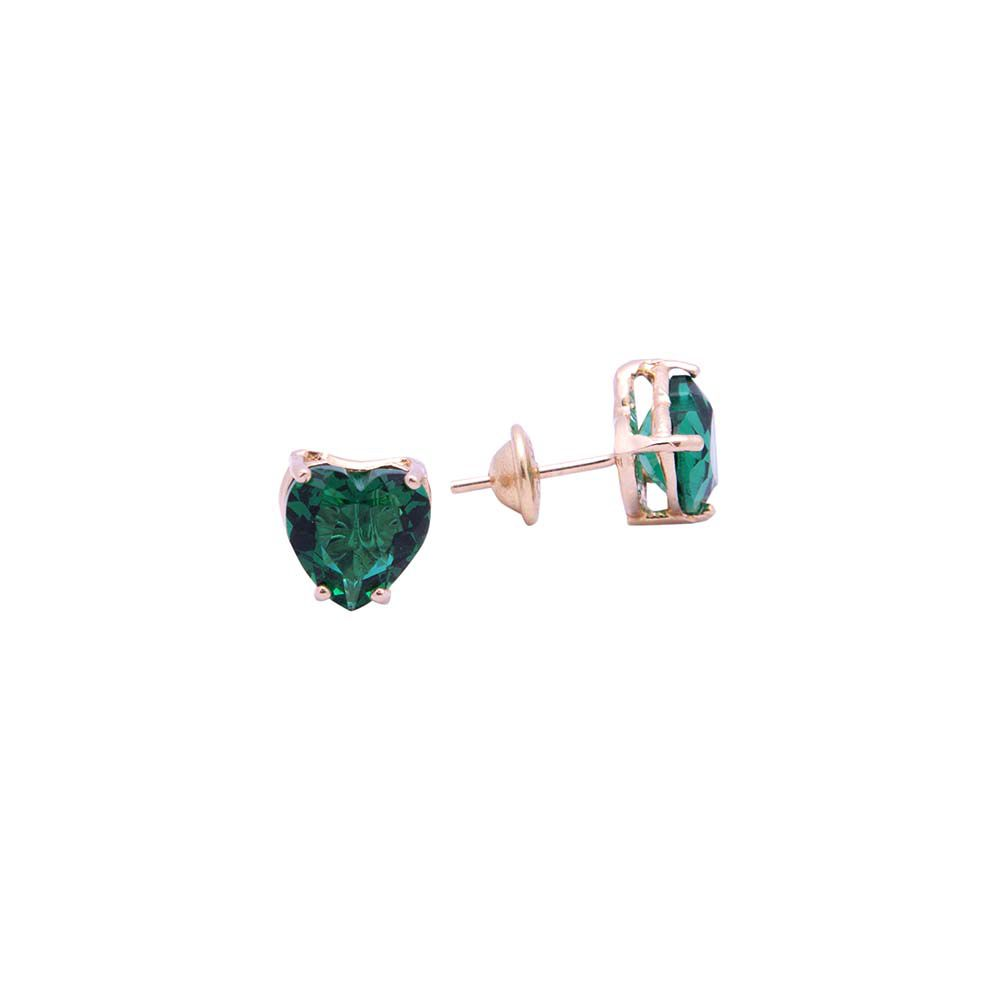 Brincos Coração Verde Cristalino VD 57