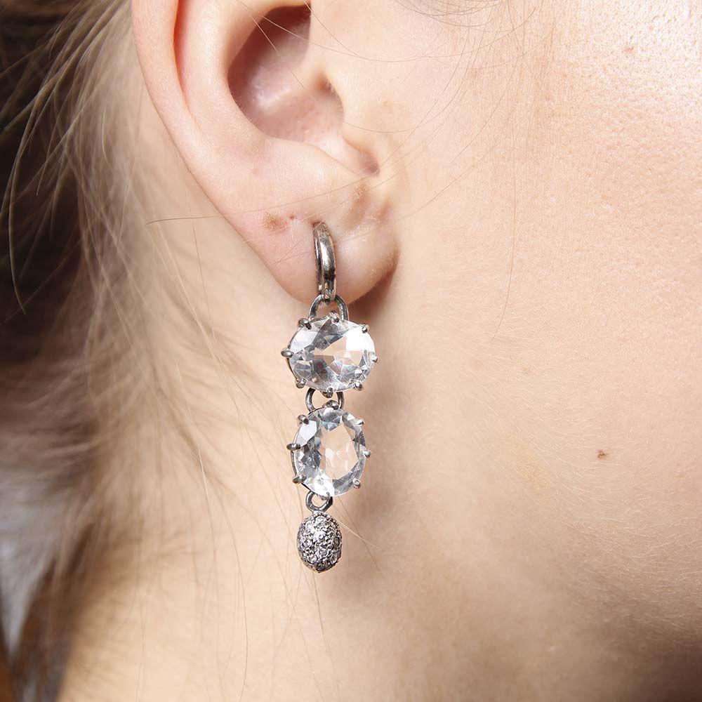 Brincos Longos Prata 925 com Cristal e Zircônias Brancas VD 219
