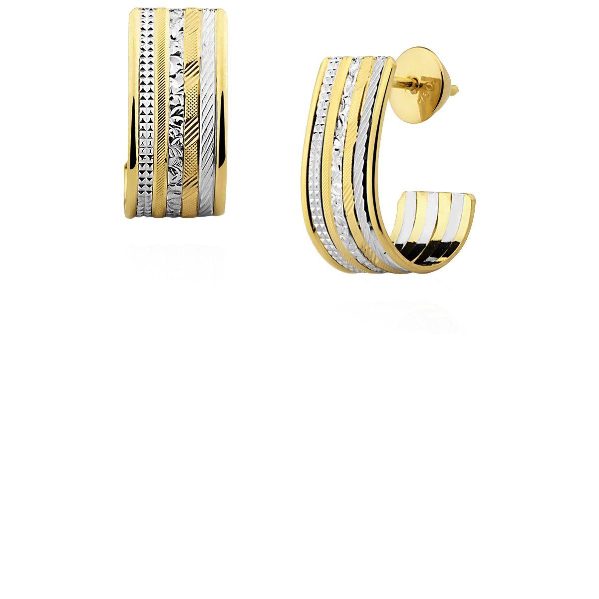 Brincos Ouro 18k Amarelo e Branco 7 elos L 16.5