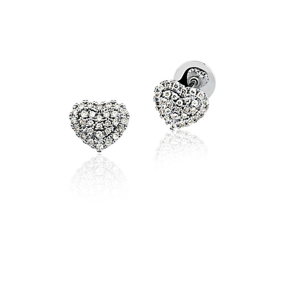 Brincos Ouro 18K Branco Clássico Coração Diamante L 33.2