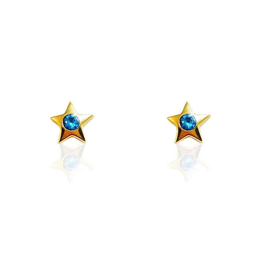 Brincos Ouro Amarelo 18k Estrela com Topázio Azul L 11.5