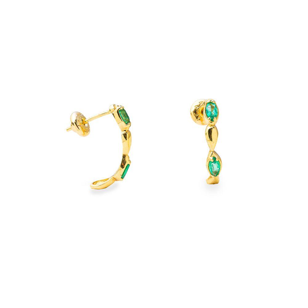 Brincos Ouro Amarelo 18k Meia Argola com Esmeralda L 17.3