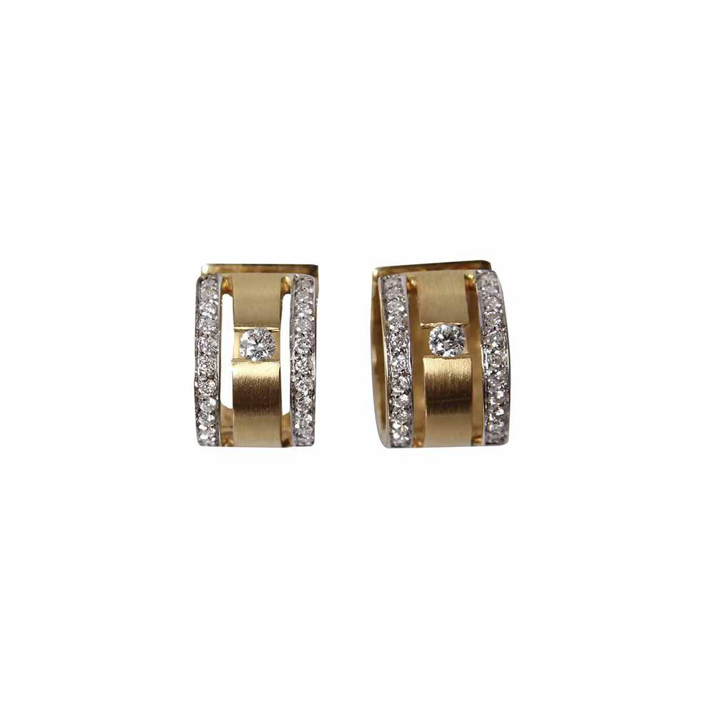 Brincos Ouro Argola Diamantes BR781CAT L 92