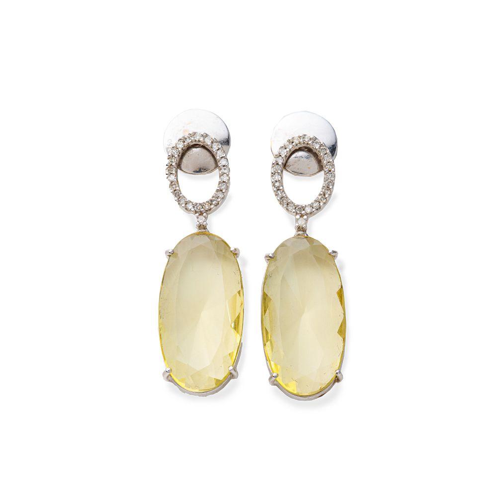 Brincos Ouro Branco 18k Green Gold com Diamantes Brancos L 112
