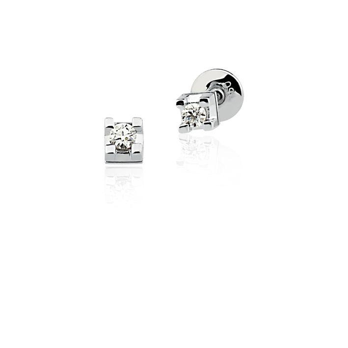 Brincos Ouro Branco 18K Solitário Diamante L 20.1