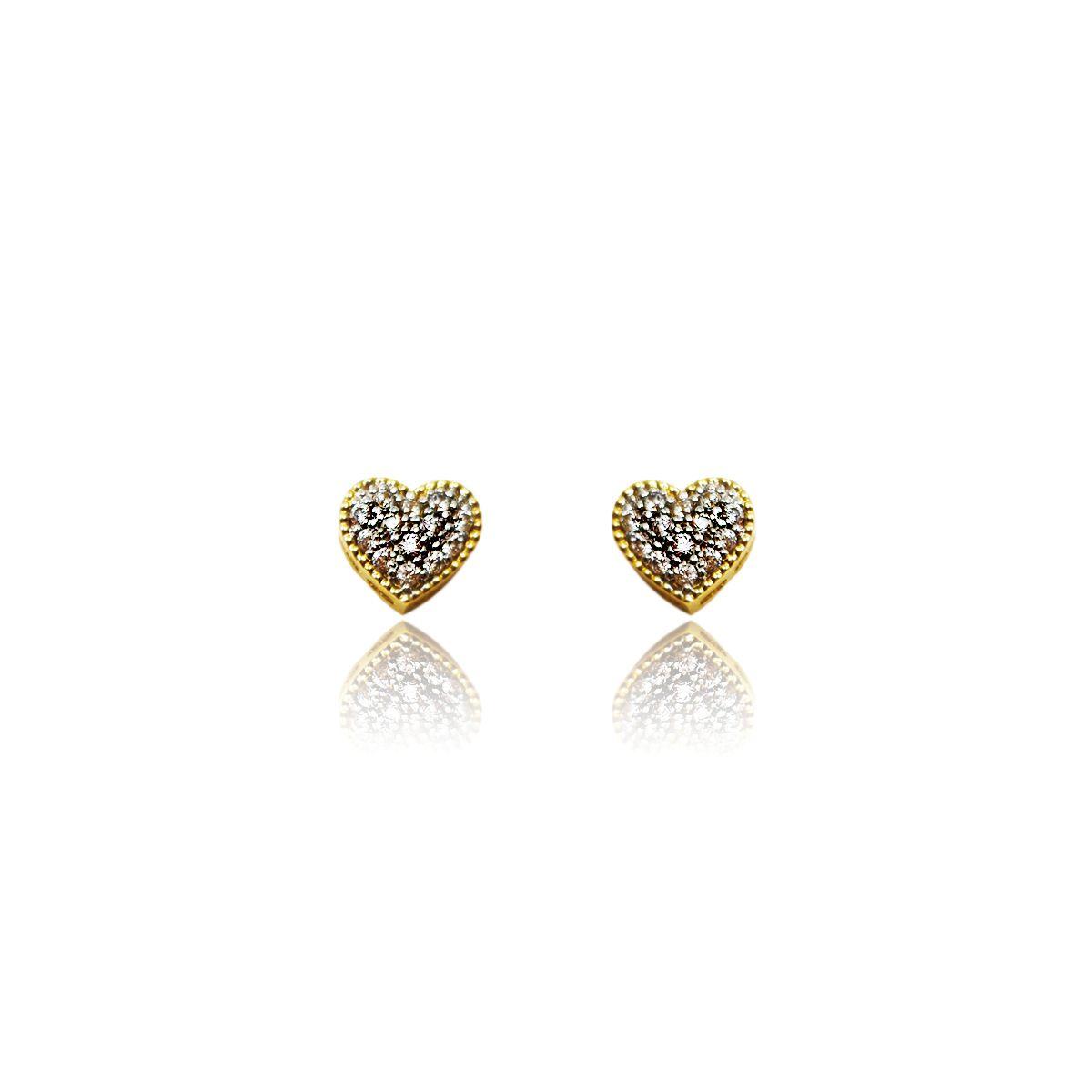 Brincos Ouro Coração com Zircônias L 9.5