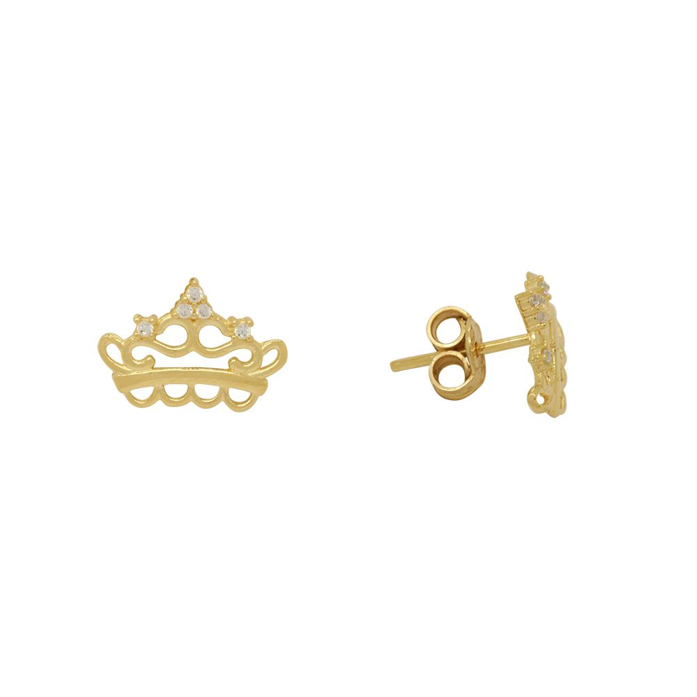 Brincos Ouro Coroa Vazada L 6