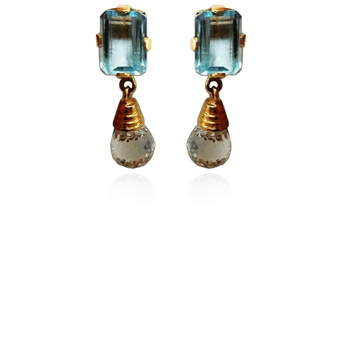 Brincos Ouro Cristal com Topázio Azul L 16.5