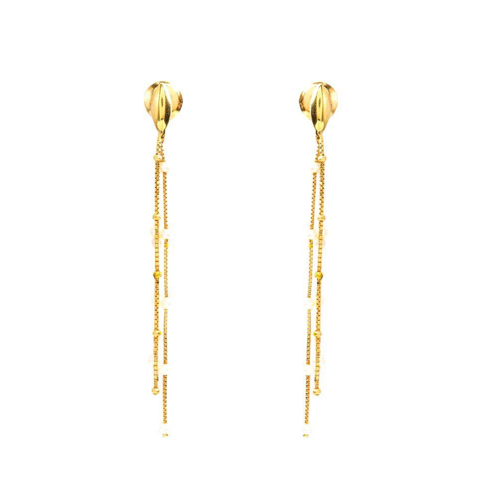 Brincos Ouro Fios de Pérola L 25