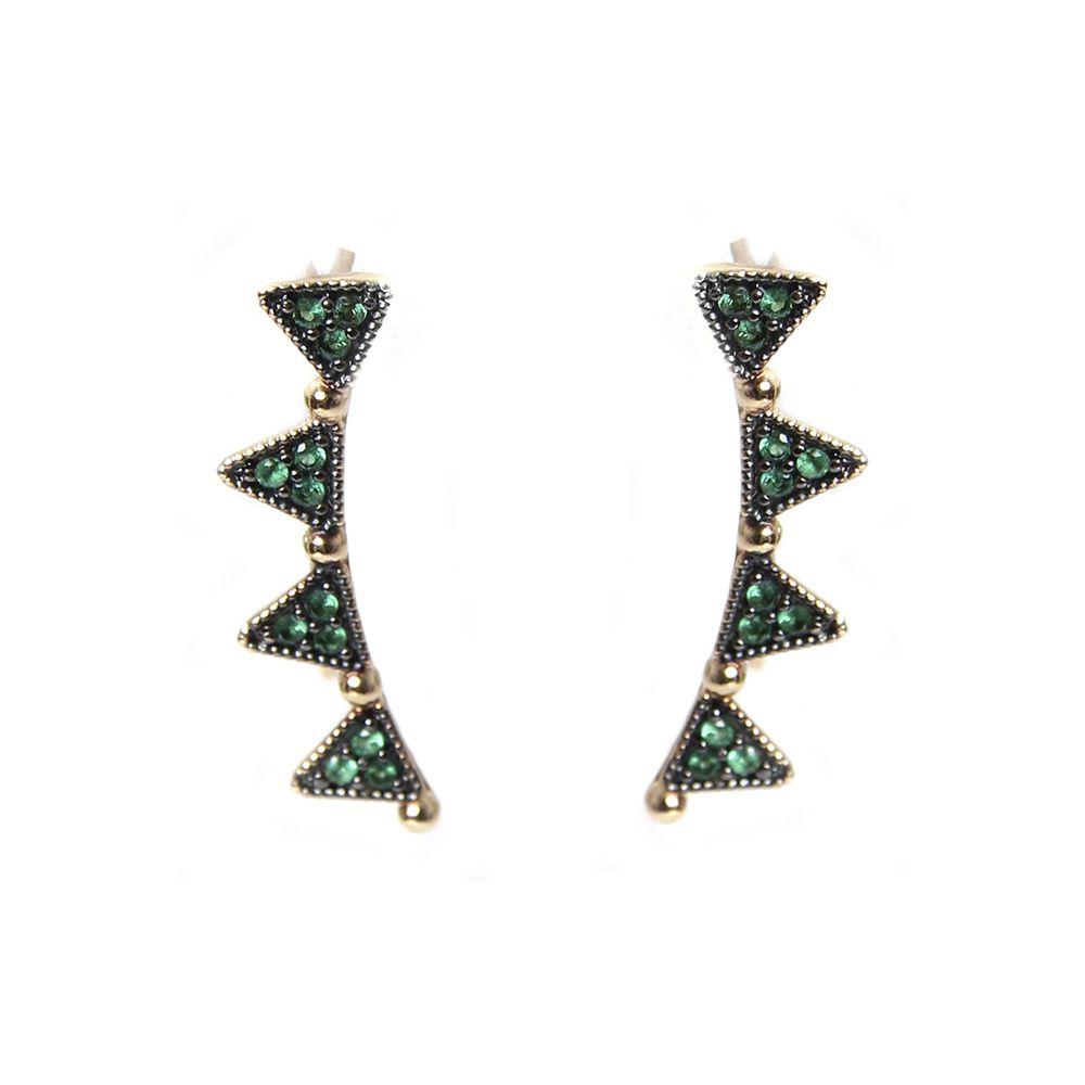 Brincos Prata Banho AU Ear Cuff triângulos Verdes VD 69
