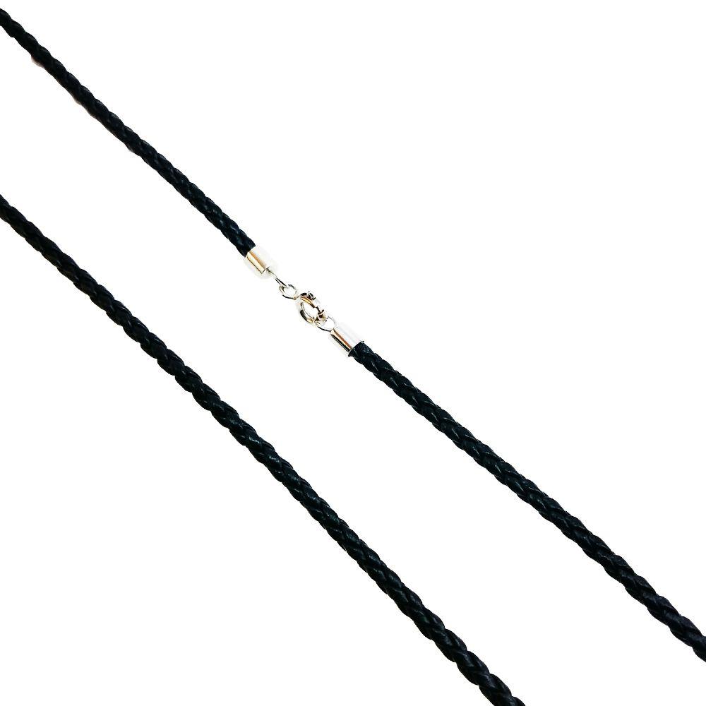 Colar Couro Trançado Preto com Ouro Branco 18k L 4.6