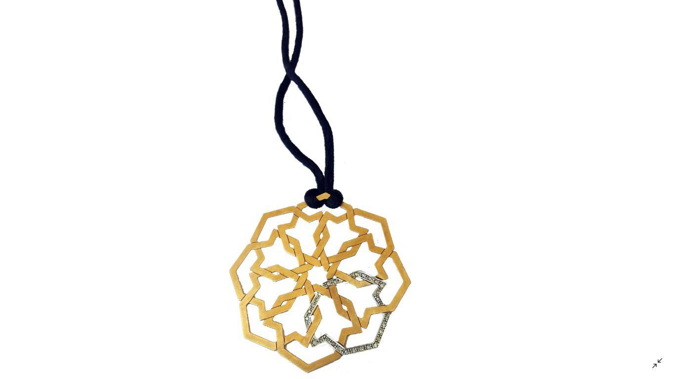 Colar Ouro 18k Rosê Fio Seda Preto Diamantes L 46