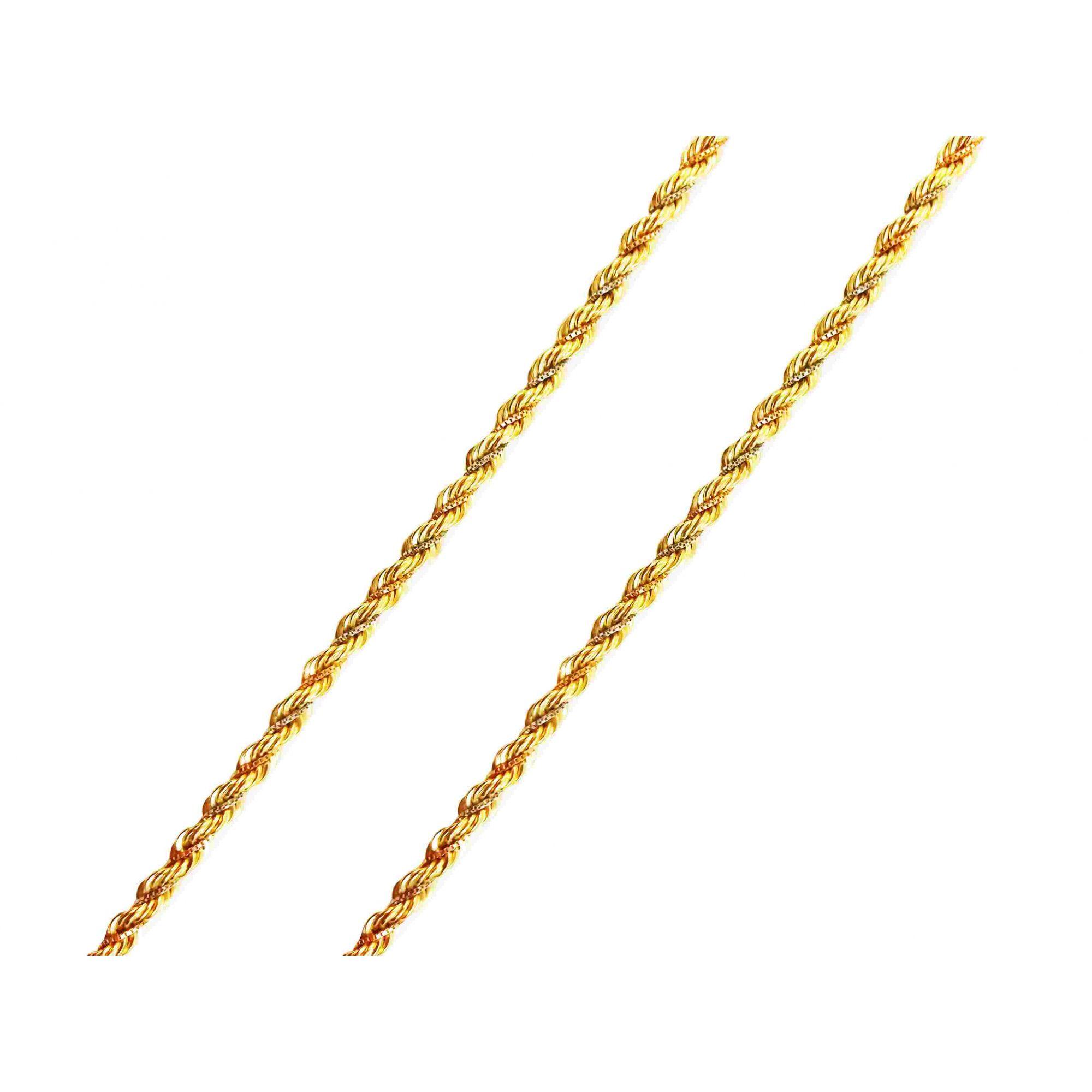 Corrente Cordão Italiano Torcido 3 Cores Ouro Amarelo 18k L 58
