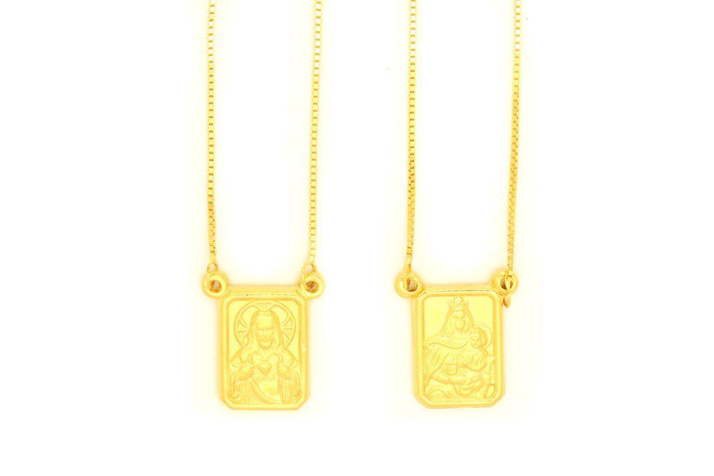 Escapulário Ouro 18K Amarelo Veneziana Medalha Dupla Face ST L15.8
