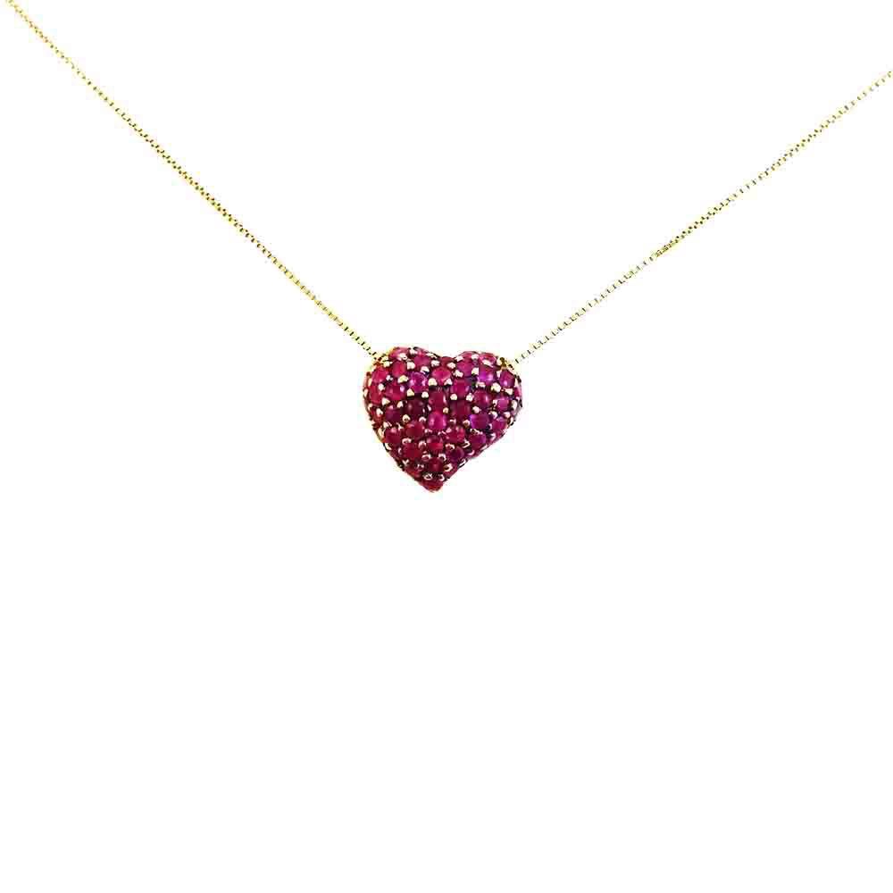 Gargantilha Ouro 18k Coração Rubi Oriental L 30