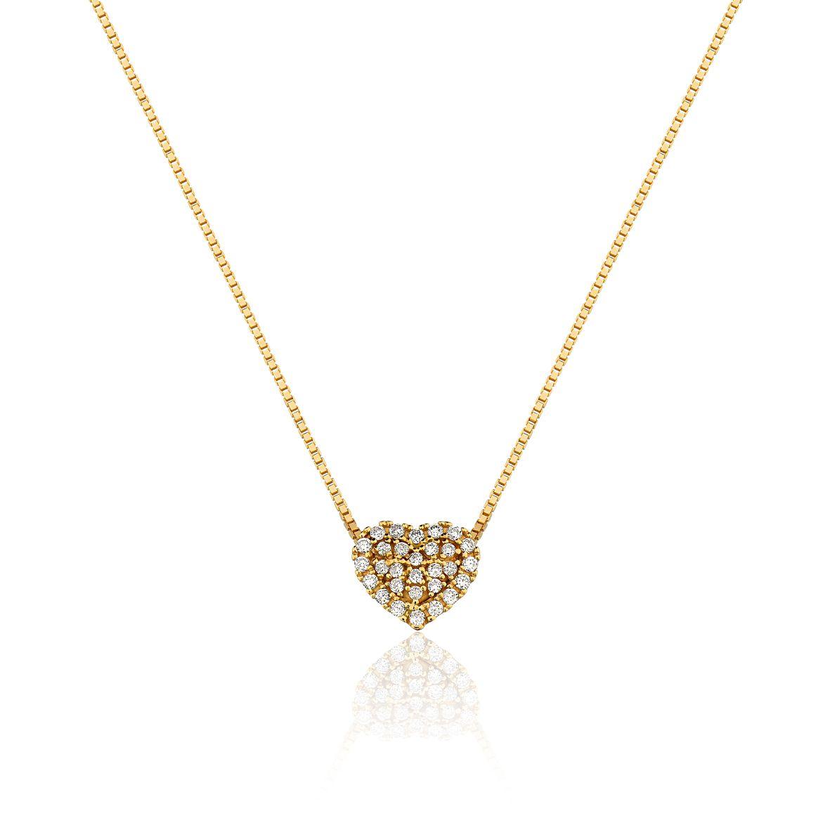 Gargantilha Ouro Amarelo 18k Coração Diamante L 23.7