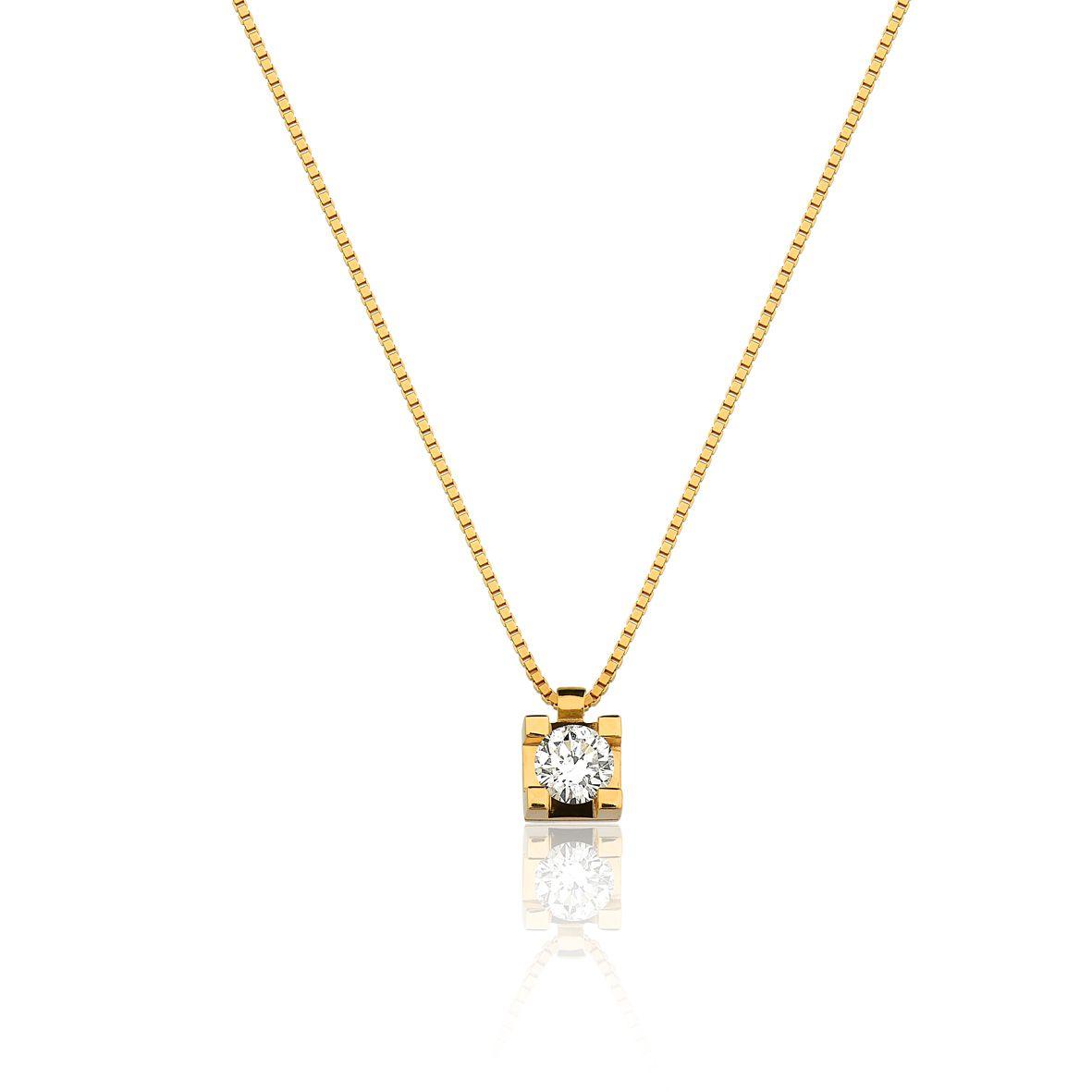 Gargantilha Ponto de Luz Ouro Amarelo 18k Diamante L 53