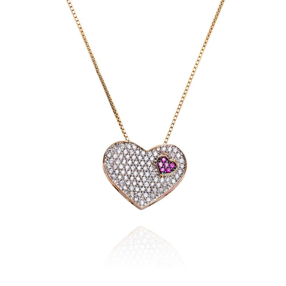 Gargantilha Prata com Banho de Ouro Coração de Mãe VD 179.95