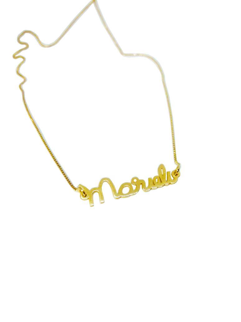 Gargantilha Prata com Banho de Ouro Letrinhas à Mão VD 117