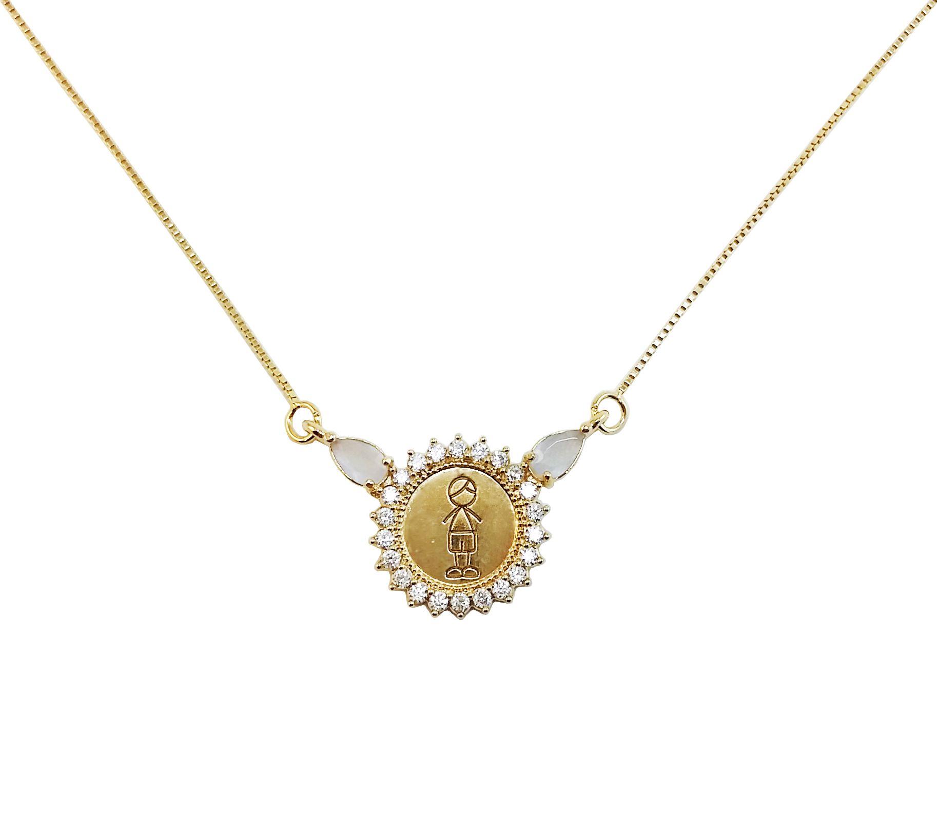 Gargantilha Prata com Banho de Ouro Menino com Pedras VD 117