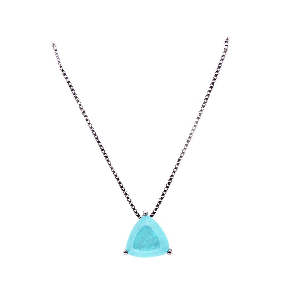 Gargantilha Prata com Pedra Triangular VD 96