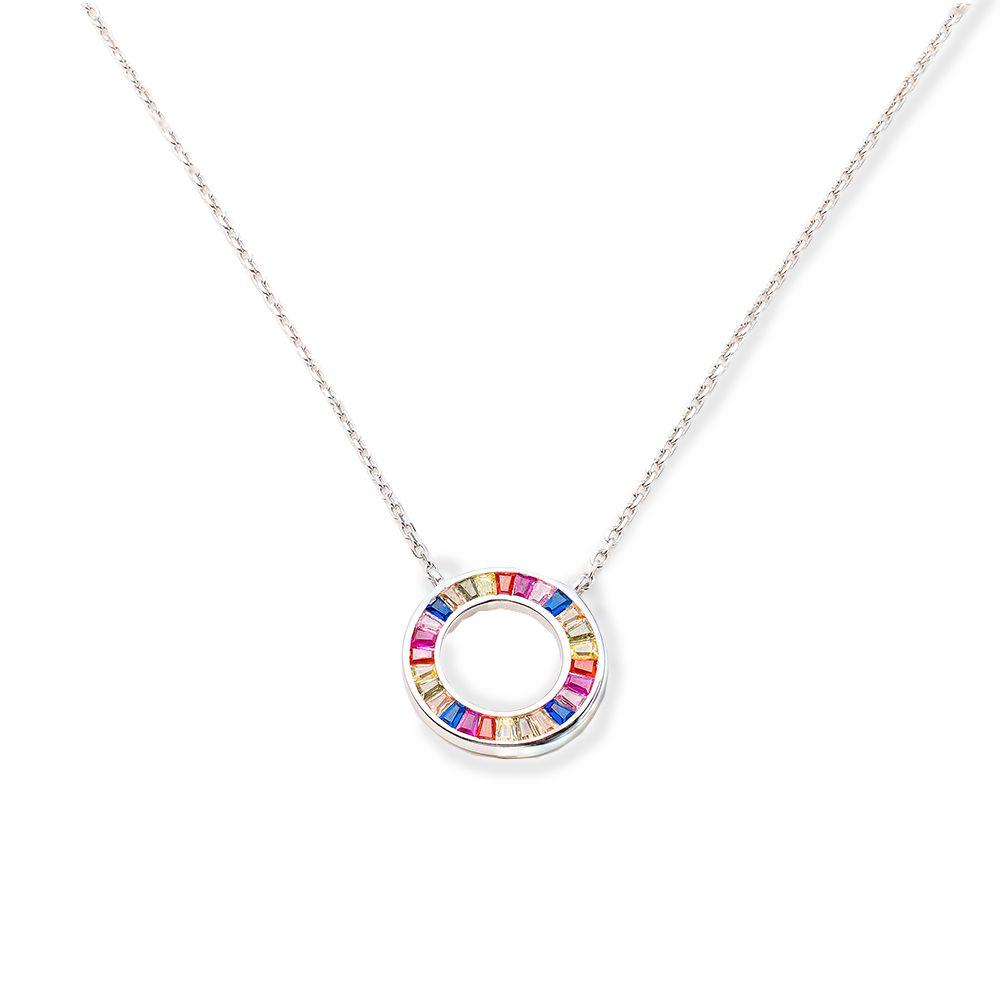 Gargantilha Prata Mandala com Pedras Coloridas VD 75.5
