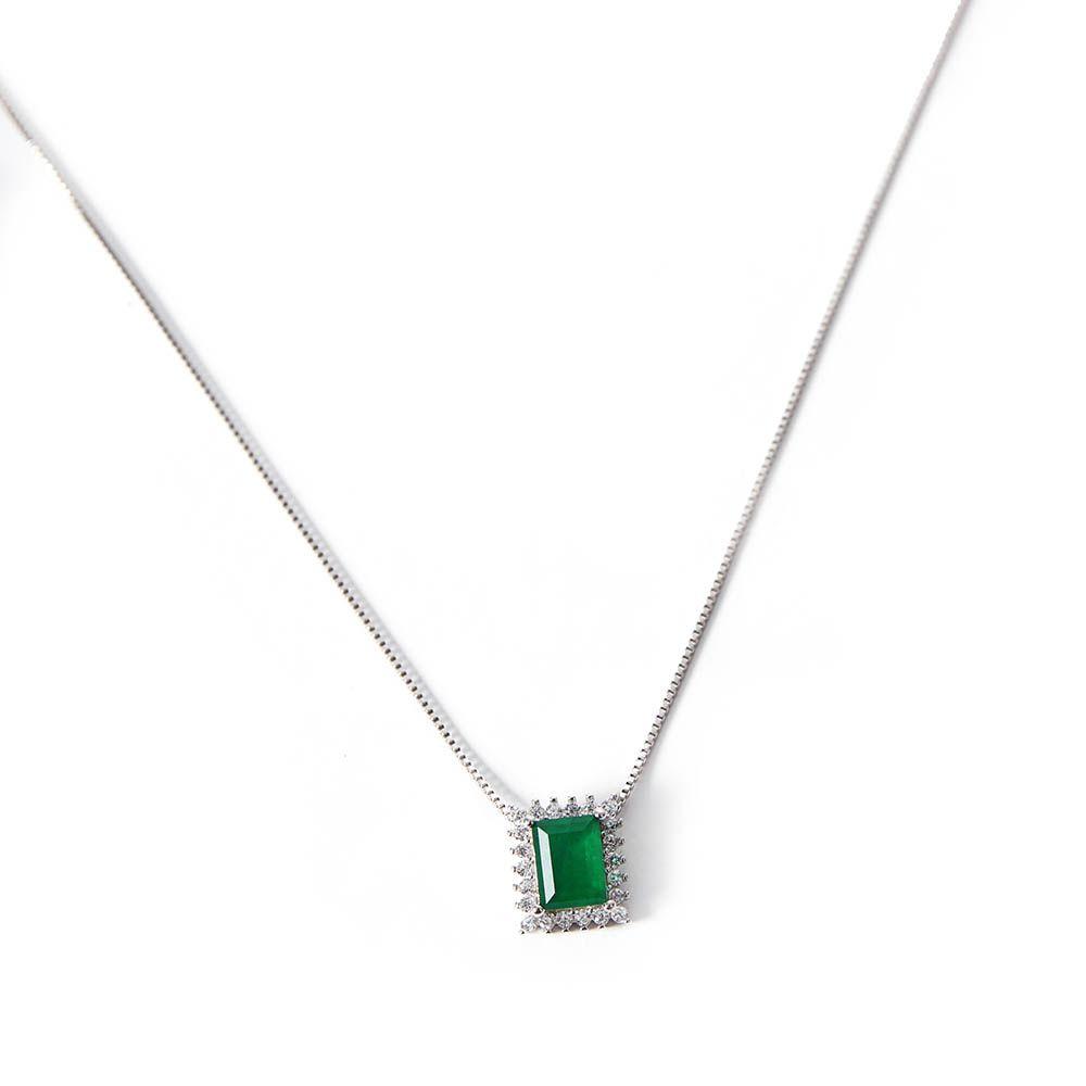 Gargantilha Prata Stylish Green VD 67