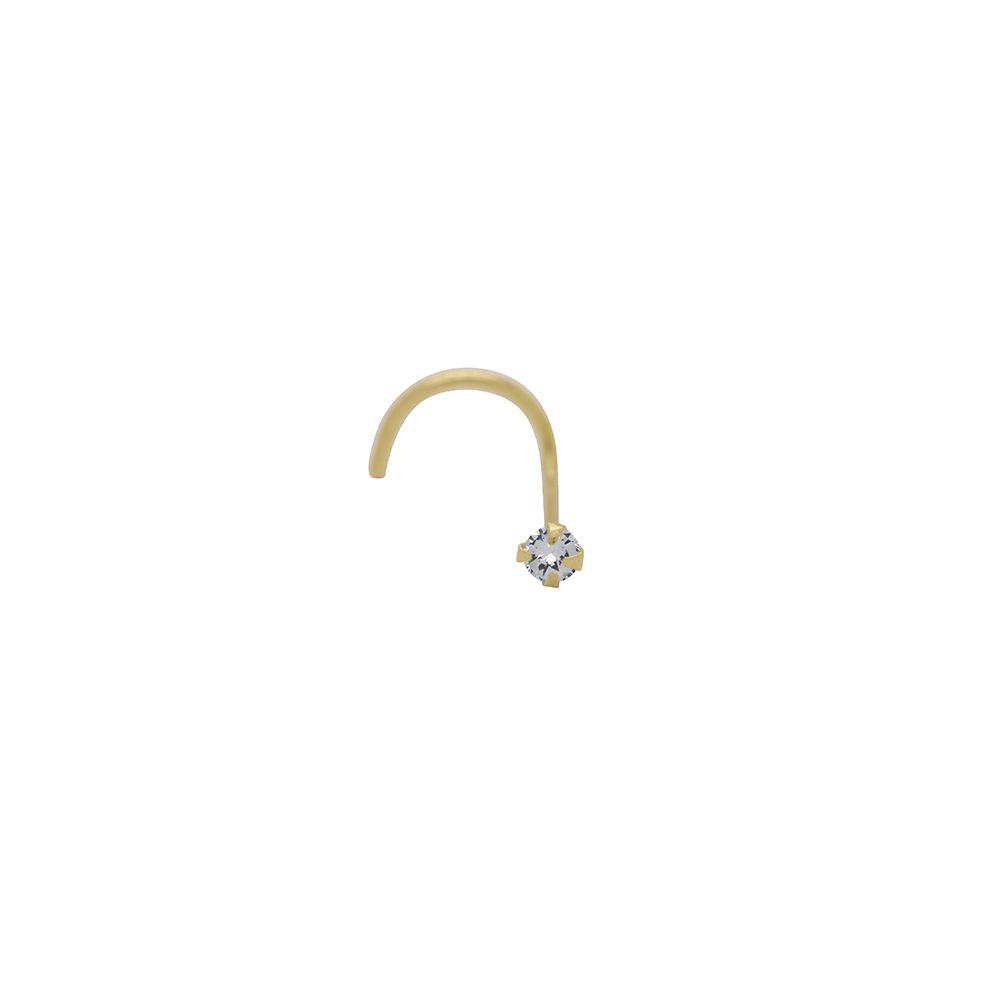 Piercing Ouro Nariz com Zircônia Redonda L 1