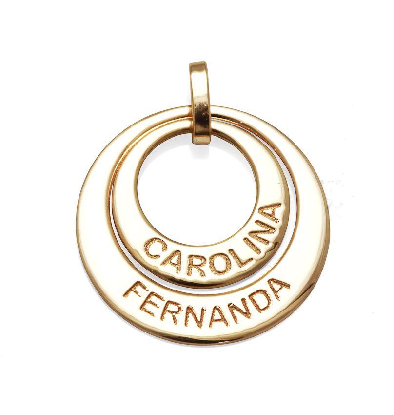 Pingente 2 Elos Personalizados Carolina Fernanda em Prata Banho de Ouro VD 75