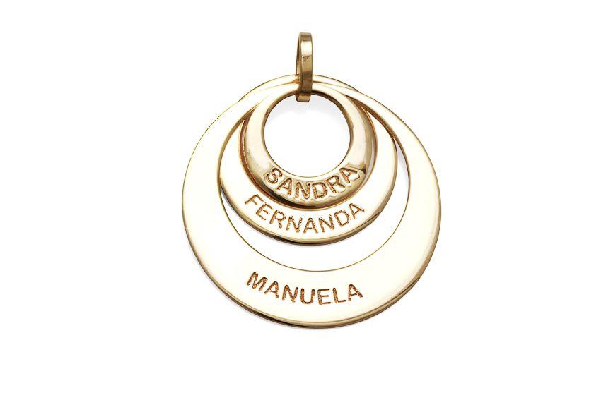 Pingente 3 Elos Personalizados Sandra Fernanda Manuela em Prata Banho de Ouro VD 113