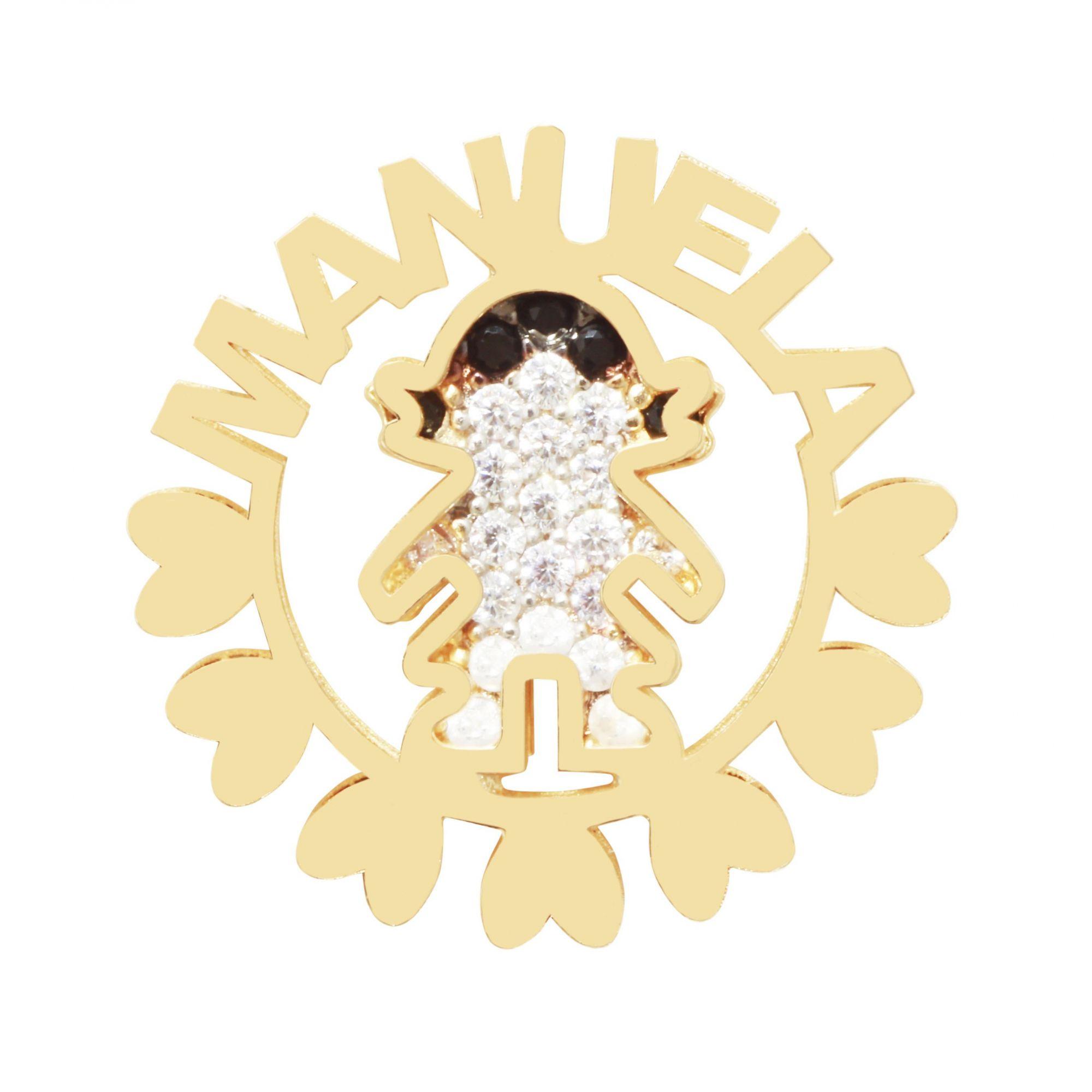 Pingente Mandala 1 Menina Prata Banho de Ouro Manuela VD 190