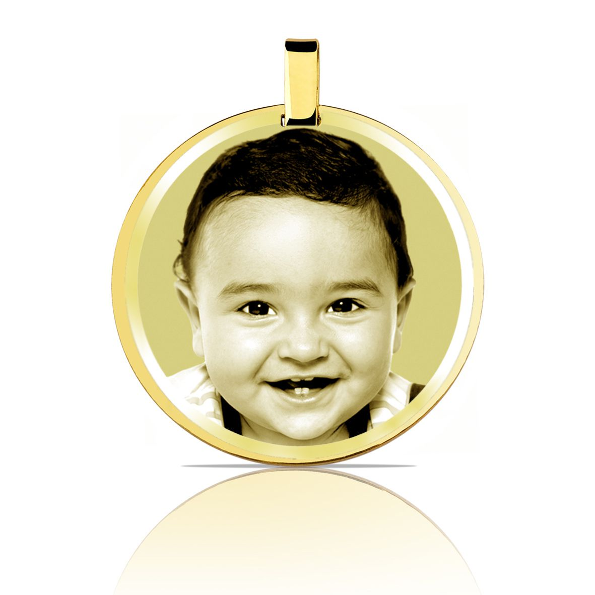Pingente Medalha Redonda Ouro 18k Fotogravada L 59