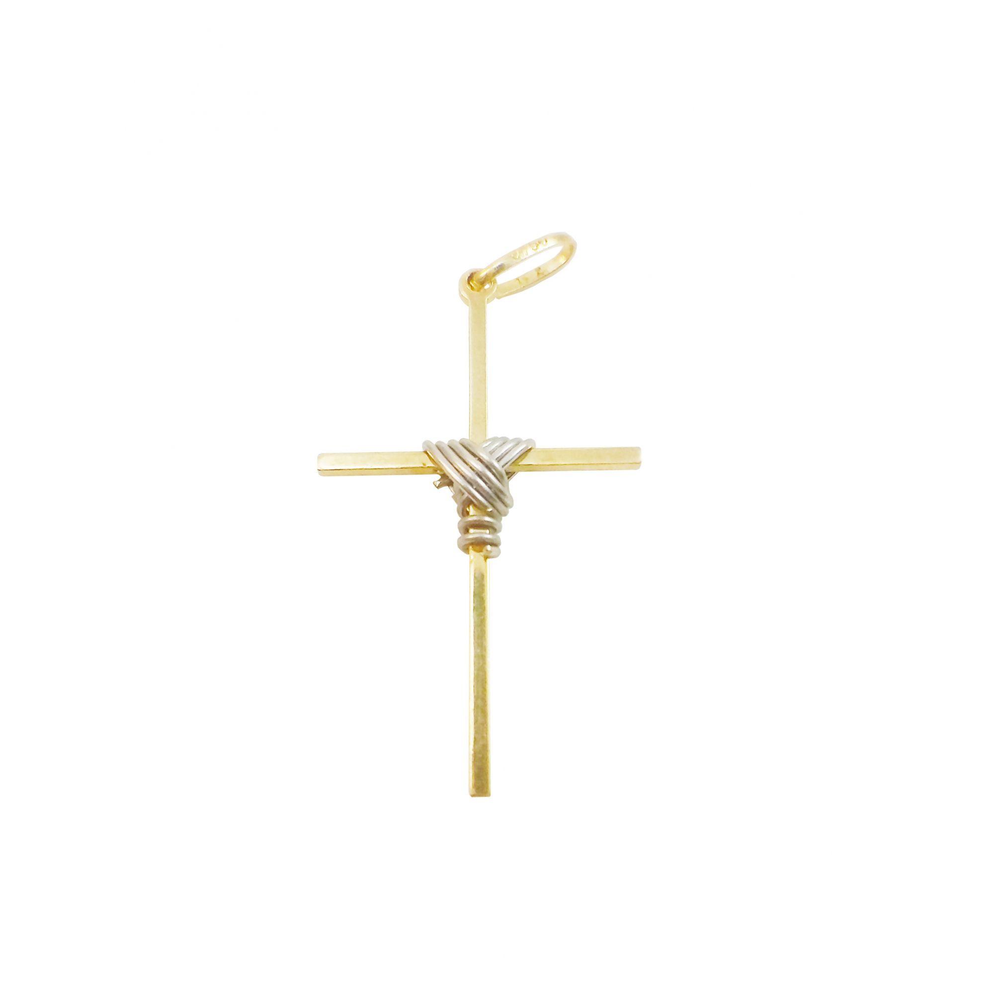 Pingente Ouro Amarelo e Branco Cruz com Nó L 4.9