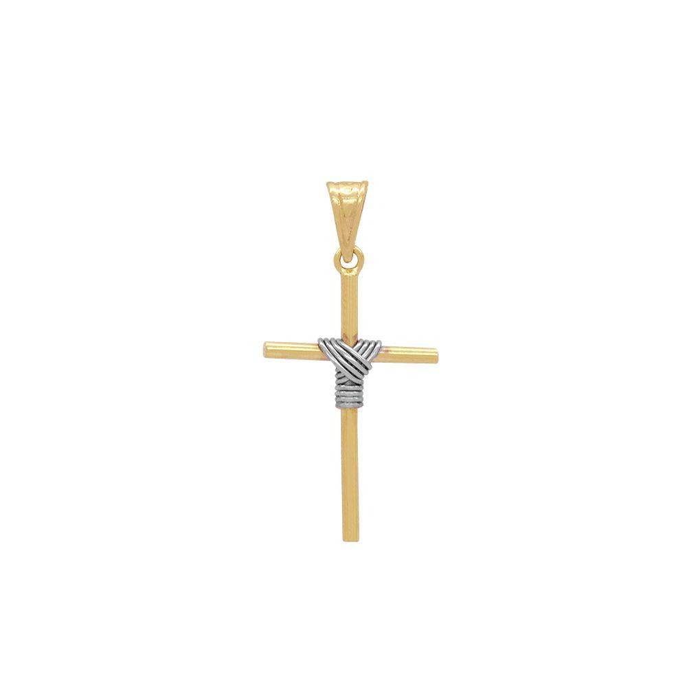 Pingente Ouro Cruz Palito com Fio Rodinado L 3.9