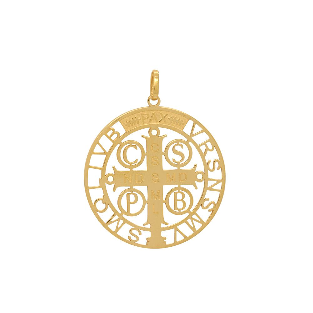 Pingente Ouro Medalha São Bento Vazada L 12.7