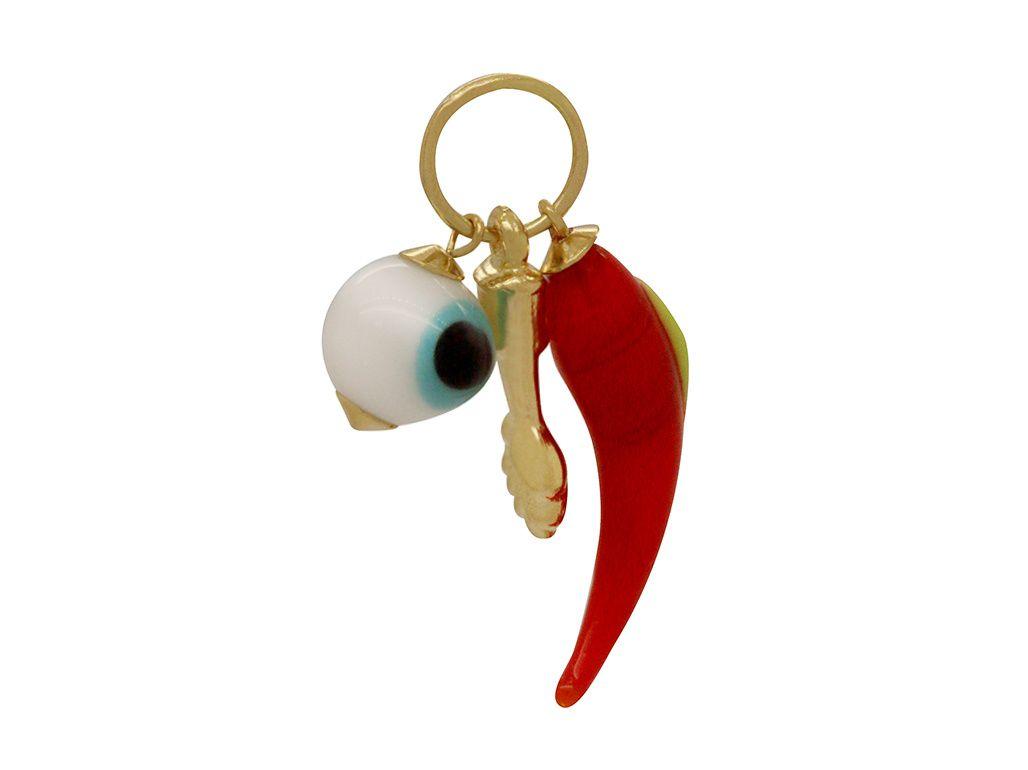 Pingente Ouro Patuá com Pimenta, Figa e Olho Grego L 5.2