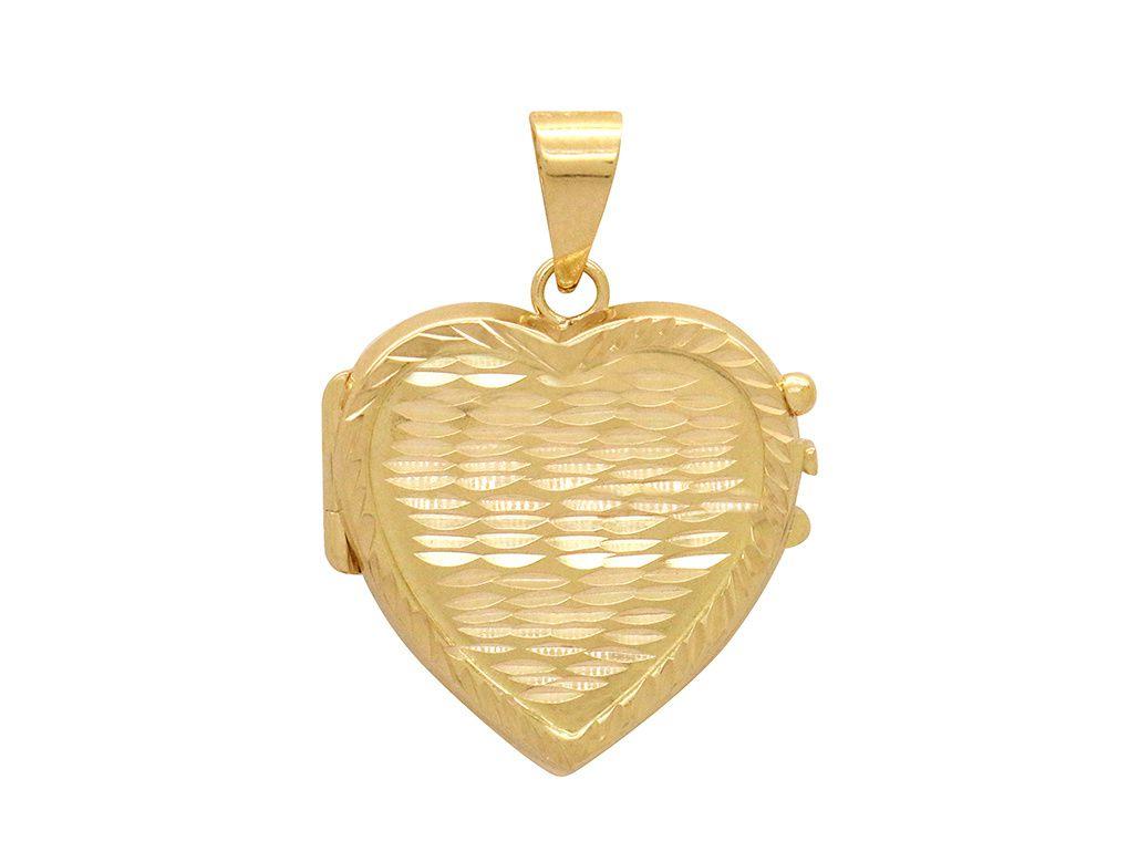Pingente Ouro Relicário Coração Diamantado L 23