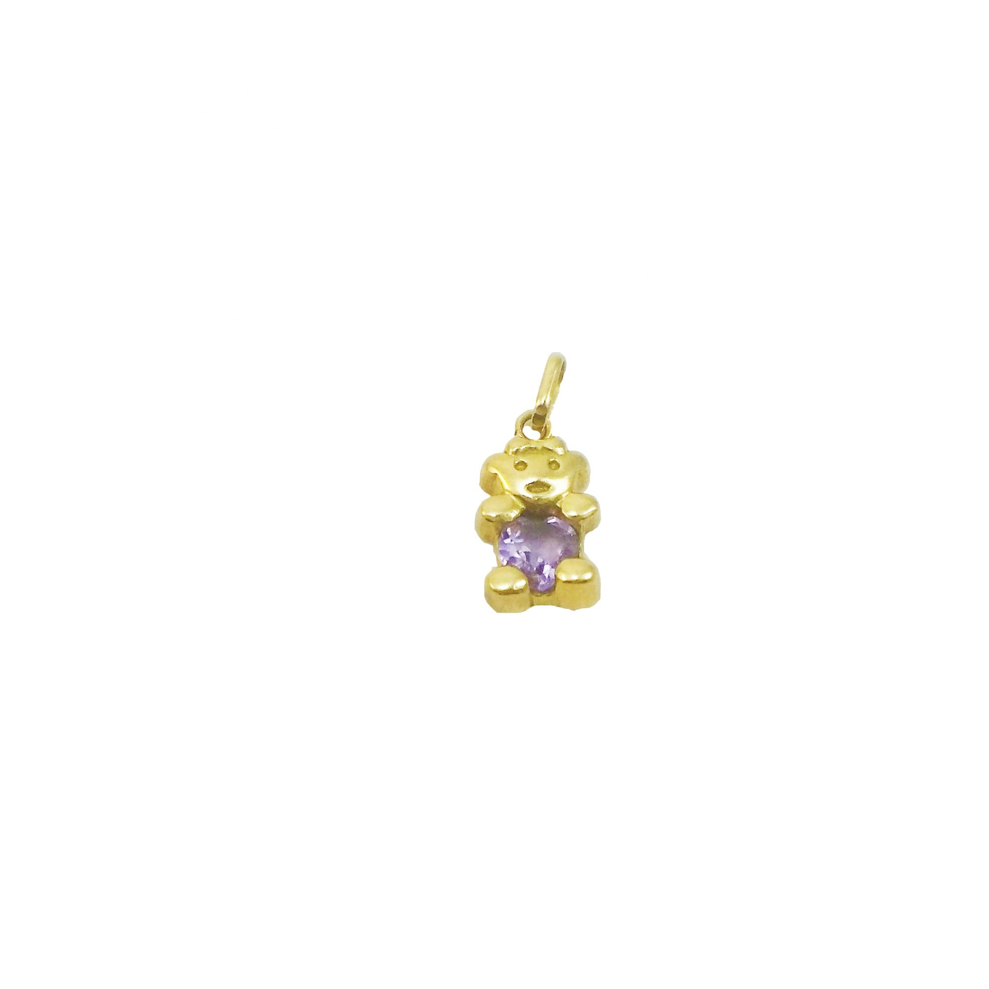 Pingente Urso com Ametista Ouro Amarelo 18k L 7.7