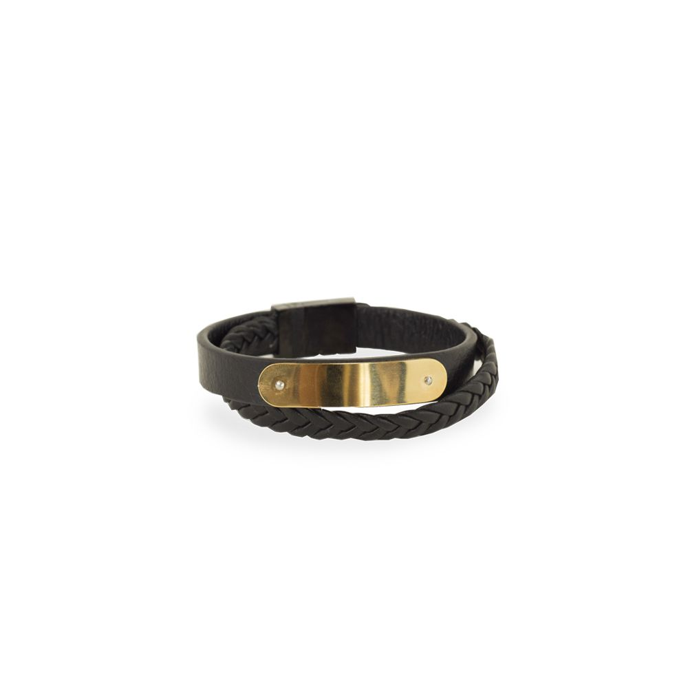 Pulseira Bracelete Aço com Placa e Couro Duas Voltas VD 115