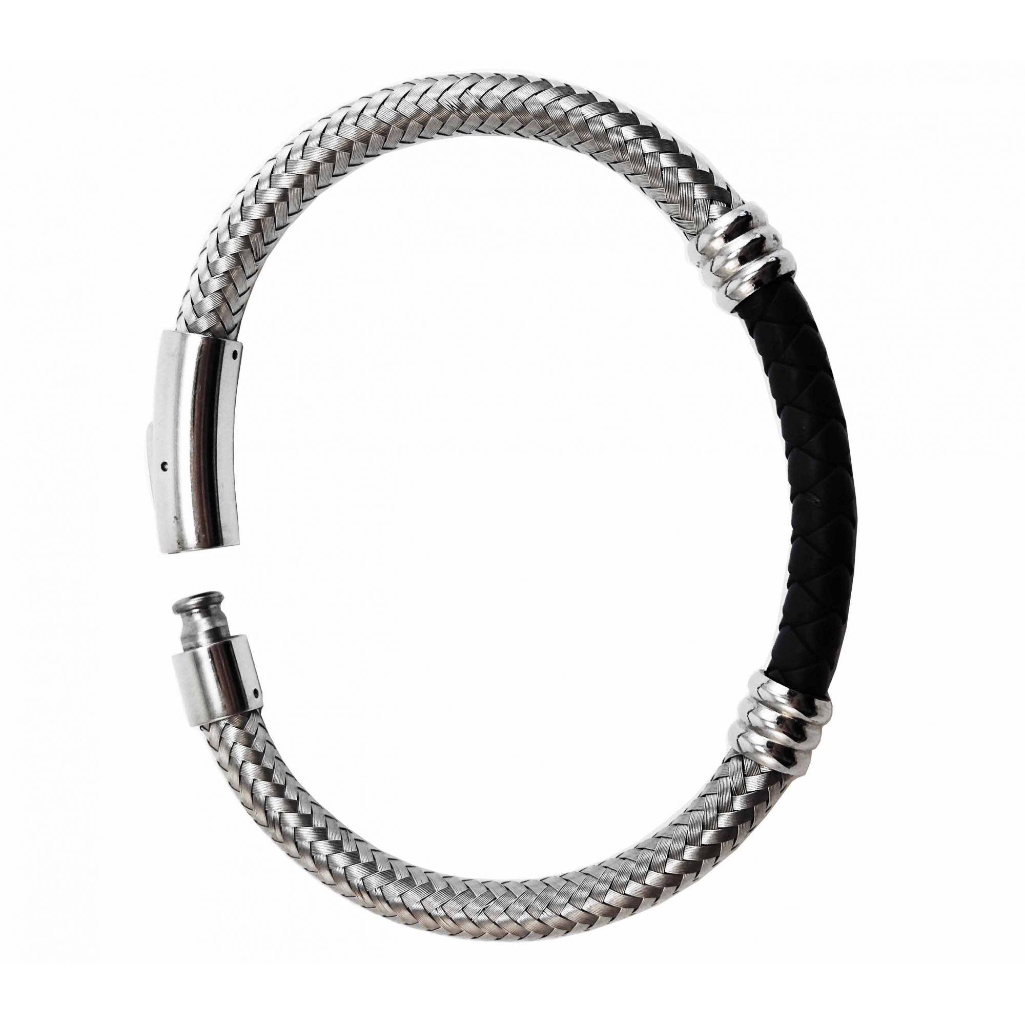 Pulseira Bracelete Prata 925 Rosa Leal VD 346