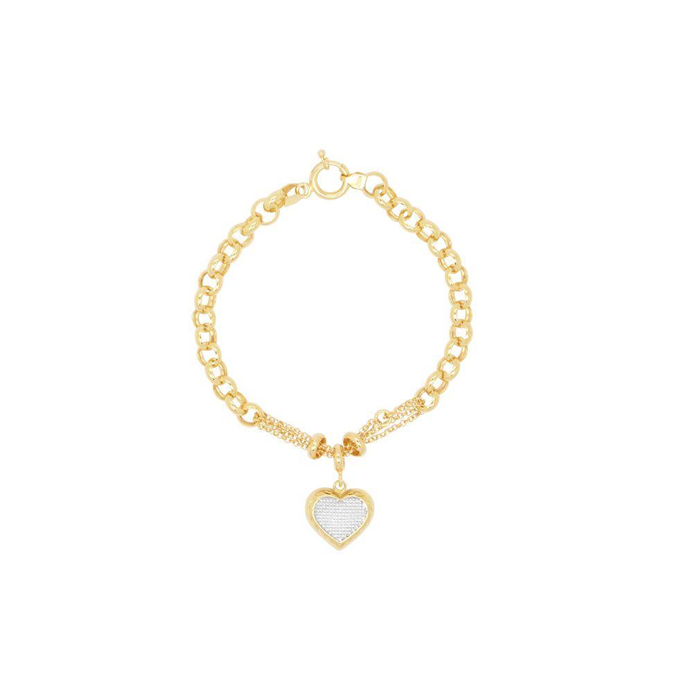 Pulseira Ouro com Coração Pendente Oco e Diamantado L 31.7
