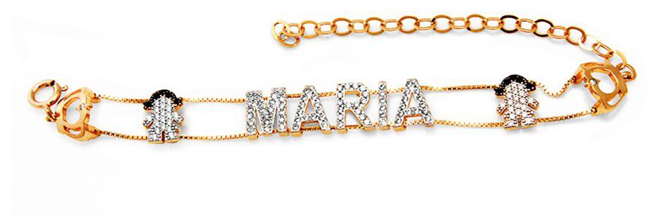 Pulseira Personalizada Nome Maria Cravejada Menina VD 239